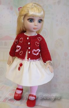Be My 'Doll'entine - a One of a Kind dress and knit sweater outfit for Tonner's new Patsy doll.  Dress features a hand beaded belt along the waistline and the sweater shows off embroidered hearts.
