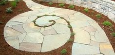 spiraling bluestone walkway