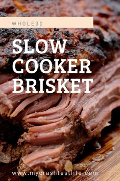 This is a simple Slow Cooker Brisket recipe that you could put together in the morning and by the time you get home, dinner is ready. Onions, beef broth and dijon mustard help to make this brisket one of a kind! This Brisket is paleo, whole keto and ab Brisket Tacos, Corned Beef Brisket, Beef Brisket Recipes Crockpot, Slow Cooker Brisket, Recipe For Brisket, Beef Brisket Crock Pot, Smoked Brisket Recipes, Whole30 Beef Recipes, How To Cook Brisket