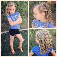 Someone was feeling sassy with this somewhat edgy hairstyle! We just did a lace braid over a French braid and a whole lot of sassy curls! Braided Crown Hairstyles, Lil Girl Hairstyles, Princess Hairstyles, Cool Hairstyles, Little Girl Braids, Girls Braids, Girl Hair Dos, Edgy Hair, Creative Hairstyles