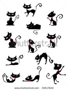 stock vector : collection of black cat silhouettes                                                                                                                                                                                 Mais