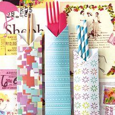 Cómo hacer sobres para los cubiertos, pajitas, palillos, etc. / Easy Origami Chopstick Holder Instructions.