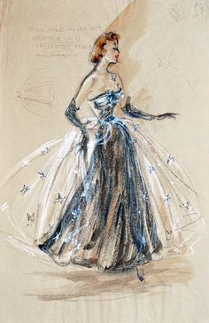 Fashion illustration by Edith Head. Stunning capture and fabric illustration. Fashion Illustration Vintage, Illustration Sketches, Fashion Illustrations, Sketch Art, Art Illustrations, Drawing Sketches, Sketching, Look Fashion, Fashion Art