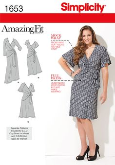 Misses' & Plus Size Amazing Fit knit dress in knee or calf length. Raglan style armhole with three sleeve options. Individual patterns for slim, average & curvy fit.