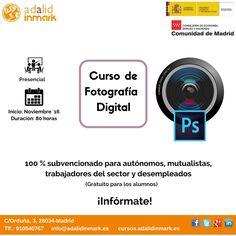 #Curso de #Fotografía Digital  y #Photoshop gratuito y presencial dirigido a #trabajadores, #autónomos y #desempleados.
