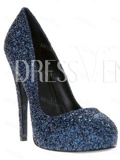 Lovely Navy Stiletto Heels Closed Toe Women Prom Shoes