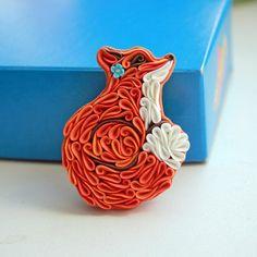 Fox brooch Fox jewelry polymer clay Fox red Fox little Fox jewelry quilled fox quilled jewelry by Liskaflower on Etsy