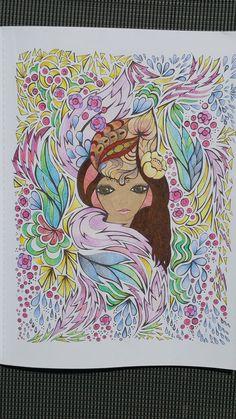 Coloriage issu du livre : Fanciful Faces - Creative Haven - Art thérapie… Book Art, Coloring Book Pages, Gel Pens, Art Tips, Great Books, Adult Coloring, Colored Pencils, Zentangle, Color Combinations