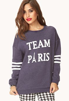 Team Paris Varsity Sweatshirt from Forever Saved to Epic Wishlist. Shop more products from Forever 21 on Wanelo. Graphic Sweaters, Graphic Sweatshirt, Cardigan Fashion, School Fashion, Sweater Weather, Get Dressed, A Team, My Outfit, Fit Women