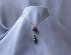 https://flic.kr/p/BQxakm   REGAL PURPLE AMETHYST.   Set : necklace, bracelet and earrings made of rose gold plated silver 925 with natural amethyst spheres and faceted tears , embroidered with PRECIOSA ORNELA and TOHO beads.
