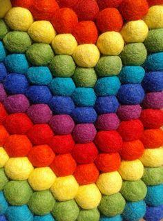 Rainbow felt balls