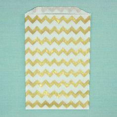 Sachets Kraft blanc - impressions chevrons dorés - 13 x 19 cm (set de 10)