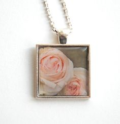Pink Rose Photo Pendant wearable art silver by semisweetstudios #fpoe