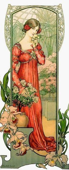 Sonrel, Elisabeth (b,1874)- Fleurs de Serre (Woman Smelling Flowers) -2b