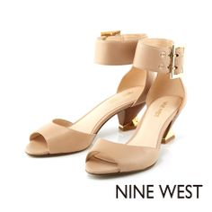 NINE WEST 獨特造型鞋跟 踝部裝飾中低跟魚口涼鞋-甜美裸膚 - Yahoo!奇摩購物中心