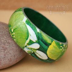 Karkötő - Zöld virágos, Ékszer, Karkötő,  decoupage, Meska jewelry, bracelet, decoupage