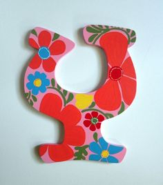 Floral Hand Painted Letter to Match Room Décor by SassyPeasDesigns