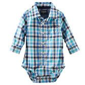 Every baby boy needs a plaid piece in his wardrobe! Roll the cuffs up to show off the chambray details.<br>