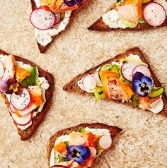Pickled cucumber and hot smoked salmon toasts