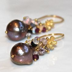 I wish these were in silver.... Mauve Pondslime Pearl Earrings Ethiopian Opal Amethyst Topaz Gold Vermeil Bali Flower Dangle Drop Cluster Earrings Handmade Gemstone Jewelry.