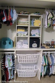 Stack two laundry baskets for lights and darks in closet as slide-outs. Good idea!
