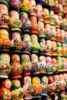Display of Russian doll fridge magnets in shop, Old Town, Prague, Czech…
