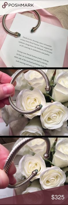 """🌹David Yurman cable bangle in prasiolite green DY 925 hallmark with signature pouch and card size medium in EUC and polished professionally .  Fits wrist size 4.75-6.0"""". 5mm cable bangle David Yurman Jewelry Bracelets"""