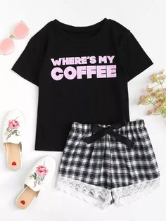 SheIn offers Letter Print Top & Lace Hem Plaid Shorts PJ Set & more to fit your fashionable needs. Cute Lazy Outfits, Cute Outfits For School, Outfits For Teens, Cool Outfits, Cute Pajama Sets, Cute Pajamas, Girls Pajamas, Teen Fashion Outfits, Look Fashion