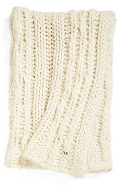 Chunky cables lend rich texture to this soft, warm wool-blend blanket. Perfect for cuddling up on chilly nights or adding a cozy-chic finishing touch to any space. Ugg Australia, Oversize Knit Blanket, Nordstrom, Weighted Blanket, Knitted Blankets, White Decor, Christmas Traditions, Warm And Cozy, Lana