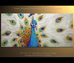 ORIGINAL PEACOCK Art LARGE Turquoise Blue Peacock by Nizamas, $440.00