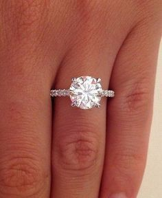 2.38 ct round cut diamond solitaire engagement ring 14k white gold