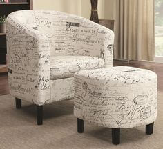 French script Contemporary Accent Chair & Ottoman Chicago