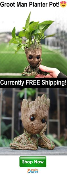 Groot Man Planter Pot This little flower pot is good for being inside on your desk, or outside in the garden. Makes an AMAZING home decor gift! Limited Quantity Available - Will Sell Out Fast! Backyard Plants, House Plants, Kitchen Window Sill, Nerd, Plant Design, Aquascaping, Garden Art, Garden Ideas, Container Gardening