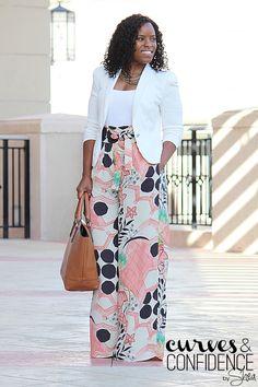 Zara Wide-Leg Floral Pants | Blazer - Macys | Tank - Love Culture | Pants - Zara | Purse - Just Fab |
