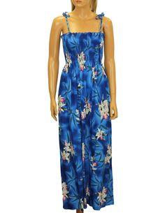 Maxi Smocked Rayon Blue Hawaii Dress Orchids #610R-MO-blue