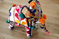 Handmade cotton elephant from India - part of a collection owned by Alana Davis.