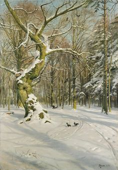 Tracks through the Forest - Peder Monsted (Danish, 1859-1941)