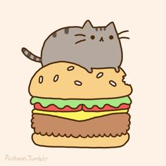 pusheen on a burger.