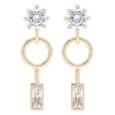 Eddie Borgo Cubic zirconia geometric drop earrings (845 BRL) ❤ liked on Polyvore featuring jewelry, earrings, metallic, geometric drop earrings, stud drop earrings, cubic zirconia stud earrings, geometric stud earrings and baguette earrings