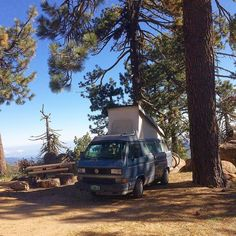 Camping above 7000ft. Reyes Peak campground. Plenty of sites available on cold windy Sunday nights. #vanlife #westy #westfalia #westlife #bluesteel #homeiswhereyouparkit #roadtrip by remotorin