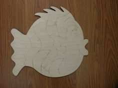 Large Whimsical Fish Wood Cutout Laser Cutouts by TomaCraftPlace
