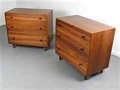Handsome Pair of Walnut Chests by Milo Baughman for Glenn of California, 1950s   From a unique collection of antique and modern commodes and chests of drawers at https://www.1stdibs.com/furniture/storage-case-pieces/commodes-chests-of-drawers/