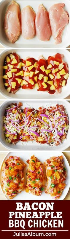 Bacon Pineapple BBQ Chicken Bake with Red Onions and Mozzarella. Bacon Pineapple BBQ Chicken Bake with Red Onions and Mozzarella Cheese Think Food, I Love Food, Good Food, Yummy Food, Tasty, Low Carb Recipes, Cooking Recipes, Healthy Recipes, Easy Bbq Recipes