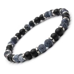 Mode tendance BRACELET Homme Perles Agate noir gris mat (Onyx) 6mm + anneaux Métal Inox/inoxydable