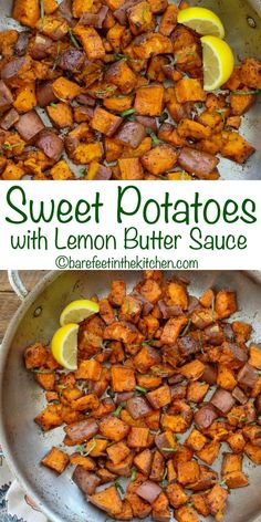 Tender roasted sweet potatoes are drizzled with a garlicky lemon herb butter to make this the side dish of my dreams. I think I ate about half of these potatoes right out of the pan Delicious Salmon Recipes, Lemon Recipes, Healthy Recipes, Bariatric Recipes, Healthy Dinners, Nutritious Meals, Healthy Eats, Yummy Recipes, Yummy Food
