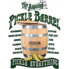 The Amazing Pickle Barrel® - Pickle just about anything. with The Amazing Pickle Barrel™, the worlds first and only barrel aged pickling kit. a personal sized pickle barrel for perfecting the perfect pickle. (Say that 3 times fast) Pickled Carrots, Pickled Eggs, Personalized Whiskey Barrel, Best Pickles, Make Your Own Wine, Pickle Jars, Corned Beef, Your Recipe, Wine Making