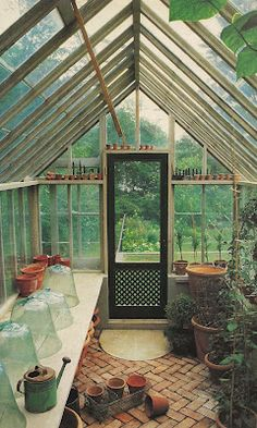 love the brick floor of this greenhouse. The Devoted Classicist: Nancy McCabe: The Garden Designer's Own Garden love the brick floor of this greenhouse. The Devoted Classicist: Nancy McCabe: The… Diy Greenhouse Plans, Backyard Greenhouse, Greenhouse Wedding, Cheap Greenhouse, Homemade Greenhouse, Greenhouse Attached To House, Greenhouse Heaters, Greenhouse Panels, Pallet Greenhouse