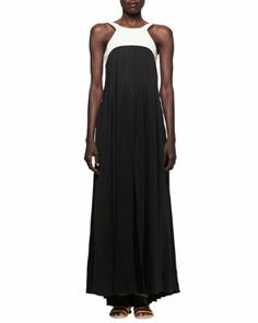 T7LTF L'Agence Linen-Bodice Jersey Long Dress with Harness