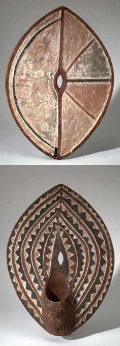 Africa | Shield from the Kikuyu people of Kenya | Wood, plant fiber, cord and pigment | ca. 1930s/40s