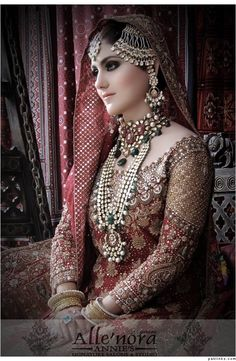 A wedding dress or wedding outfit is the attire worn by a life partner in the midst of a wedding capacity. Shade, style and stately imperativeness of the outfit can depend on upon the religion and so. Pakistani Bridal Wear, Pakistani Wedding Dresses, Bridal Dresses, Pakistani Jewelry, Desi Bride, Desi Wedding, Wedding Bride, Wedding Decor, Beautiful Bride